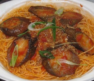 季節限定!ナスと挽肉の辛味スパゲティ
