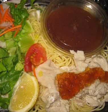 自家製ポン酢で食べる豚しゃぶの冷製パスタ